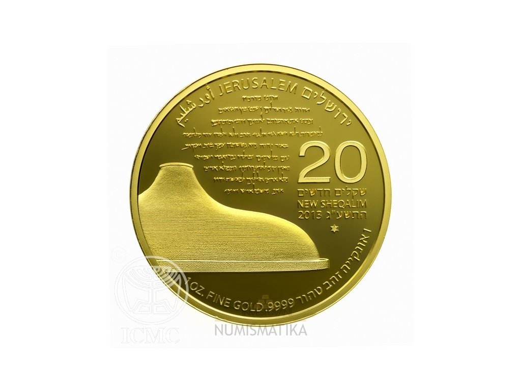 Investiční zlatá mince Svatyně knihy-Shrine of the Book 2013-1 Oz