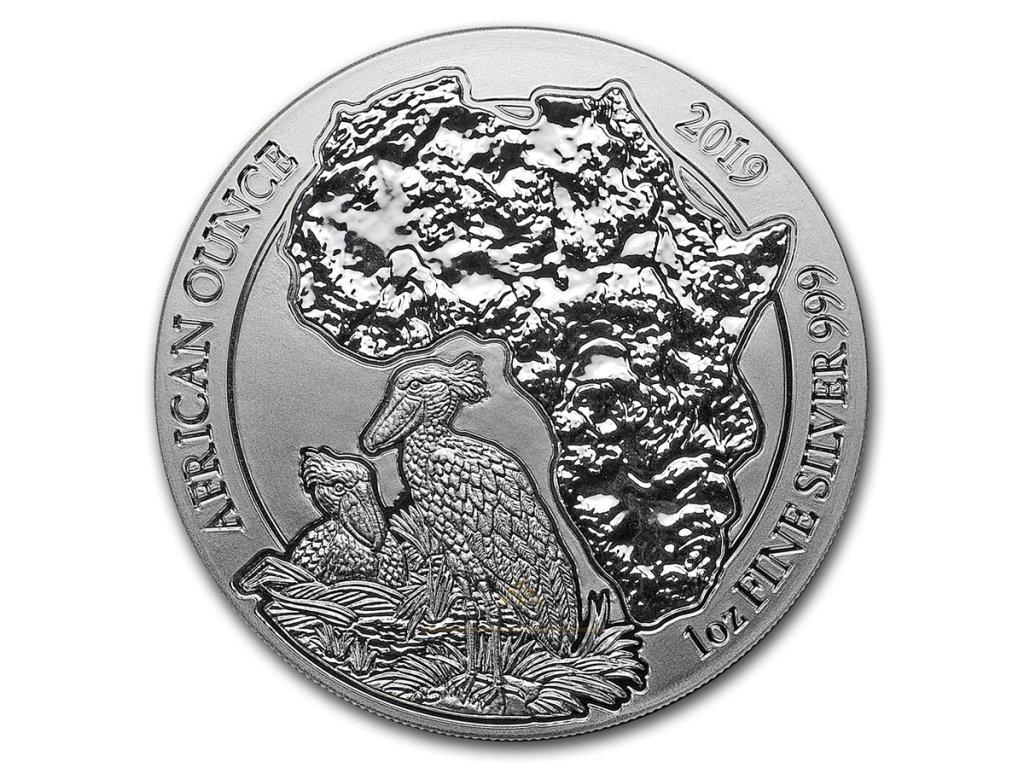 Investiční stříbrná mince Pelikán 2019-Rwanda 1 Oz