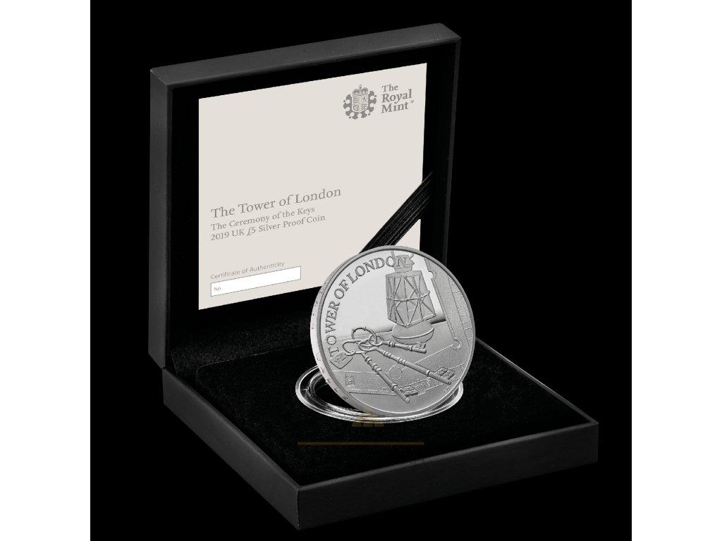 Stříbrná mince 5GBP- The Ceremony of the Keys 2019 - Proof