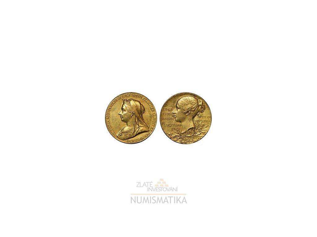 Zlatá jubilejní medaile Gold Diamond Jubilee 1897-královna Victoria