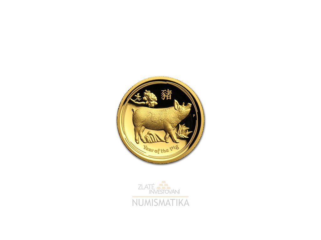 Investiční zlatá mince rok Vepře 2019-lunární série II. - vysoký reliéf proof 1 Oz