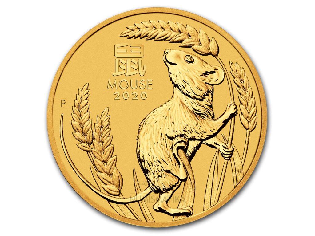 Zlatá mince rok krysy 2020 1/10 Oz- lunární série III.