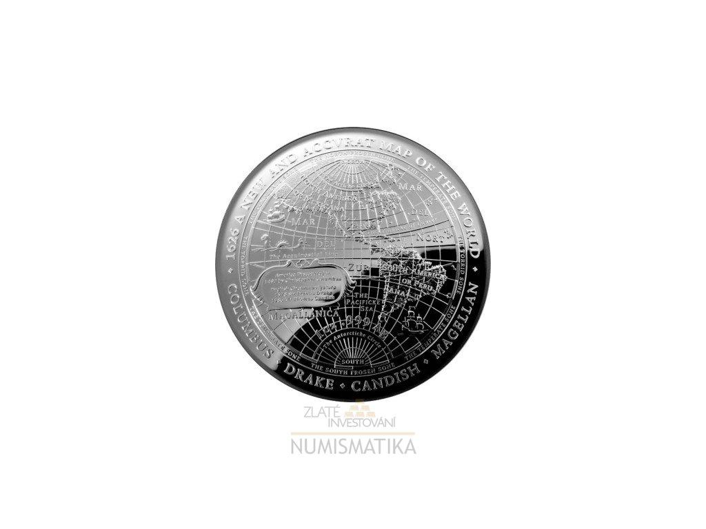 Stříbrná mince Nová mapa světa 1626-proof