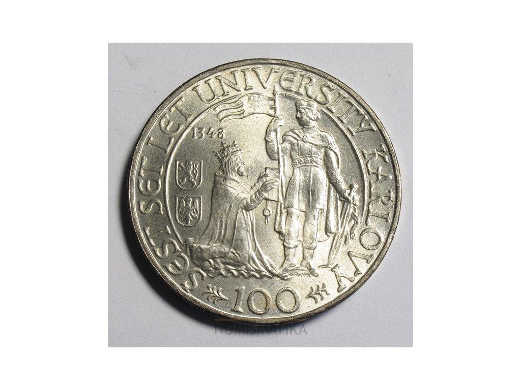 Stříbrná 100 koruna Univerzita Karlova 600 let