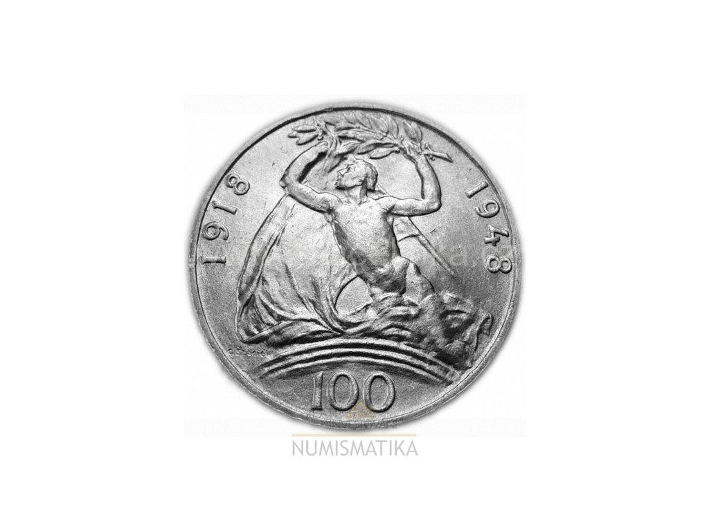 Stříbrná 100 koruna 30.výročí vzniku  Československé republiky