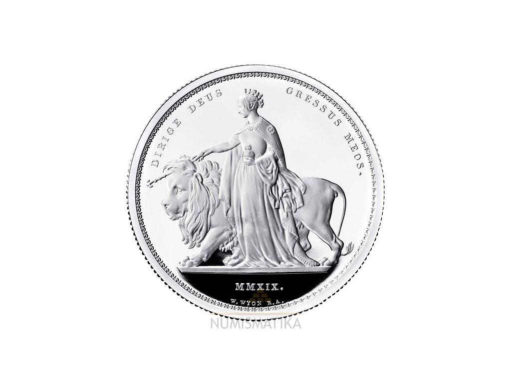 Stříbrná mince Una a lev proof 2Oz 2019