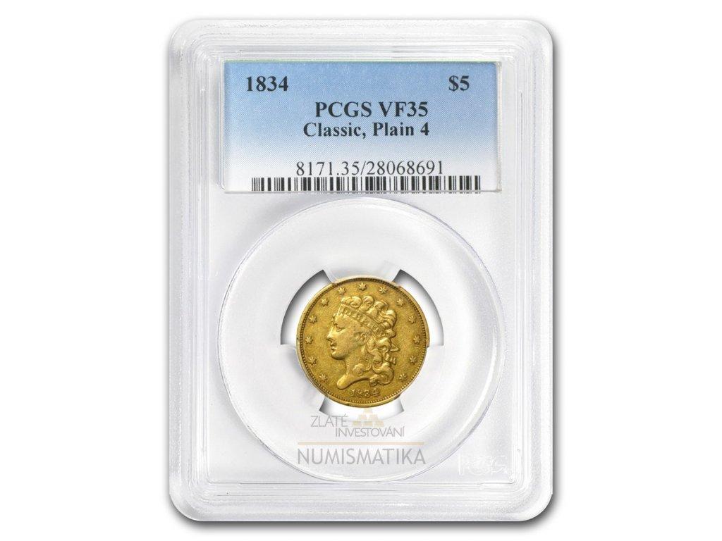 Zlatá mince 5 dollar 1834 classic head