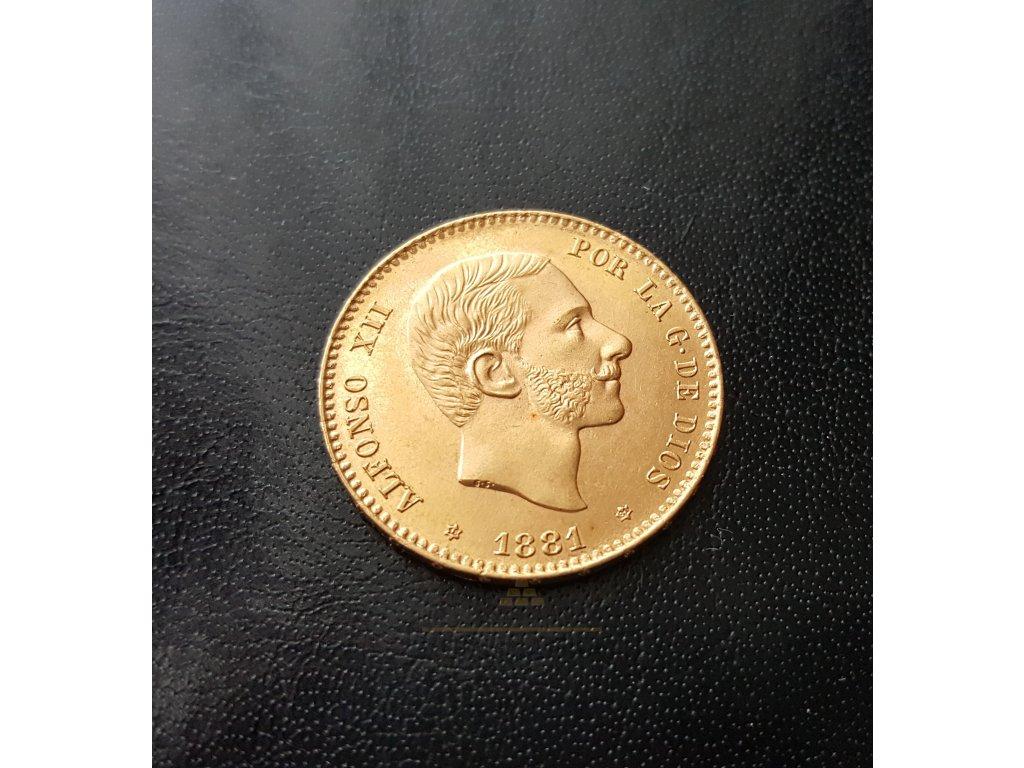 Zlatá mince 25 peset Alfonso XII 1881-1885 -třetí portrét