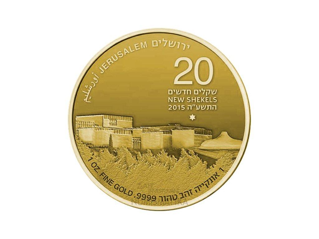 Investiční zlatá mince Izraelské muzeum 50.výročí-Izrael 2015 1 Oz