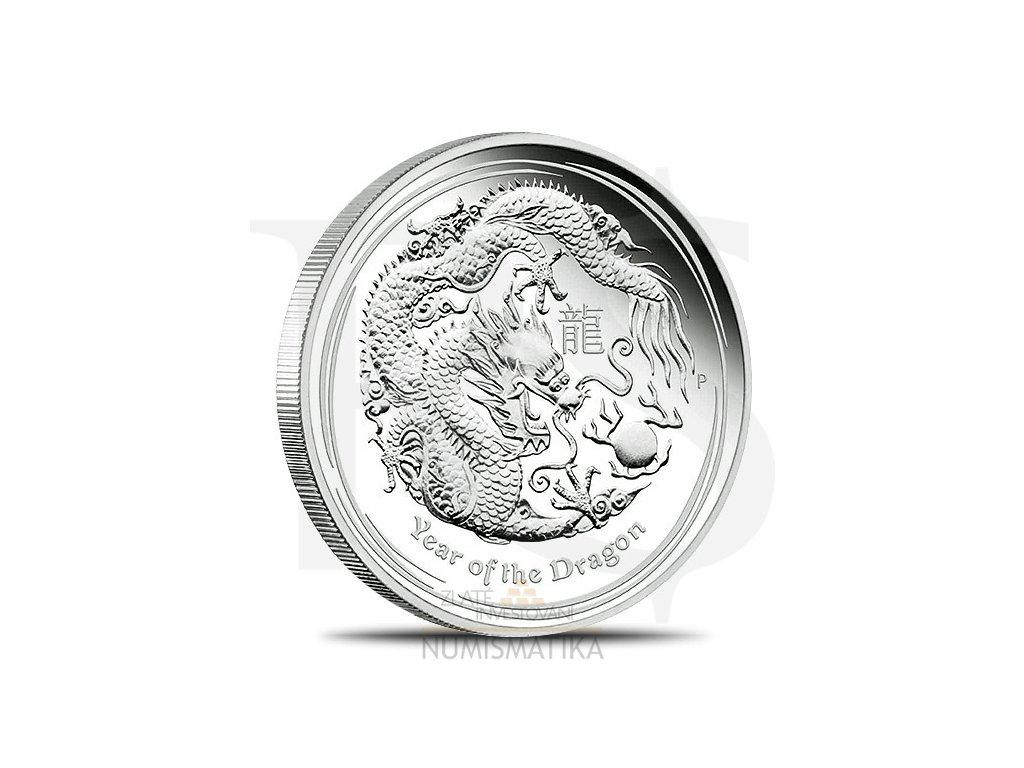 Stříbrná investiční mince 10 Oz 2012-rok draka