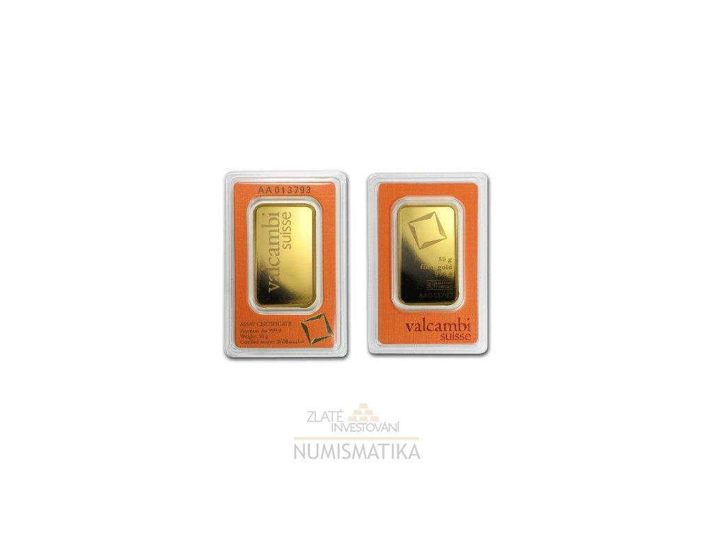 Zlatý slitek 50g Valcambi