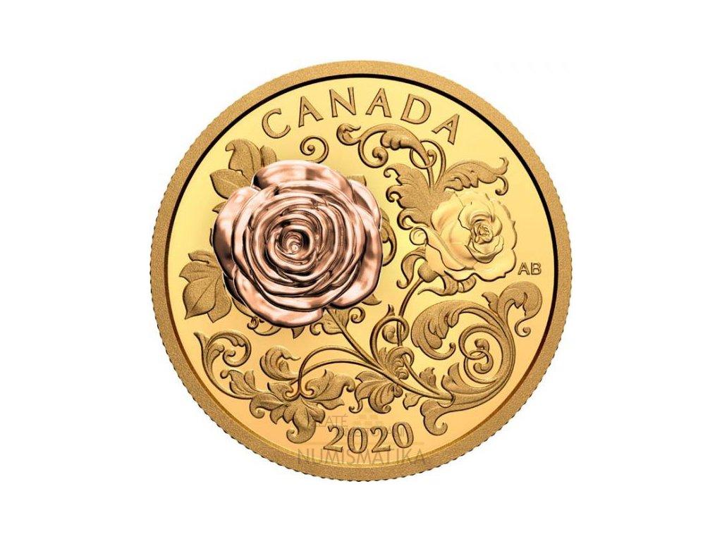Zlatá moderní mince Queen Elizabeth Rose 1 Oz proof 2020