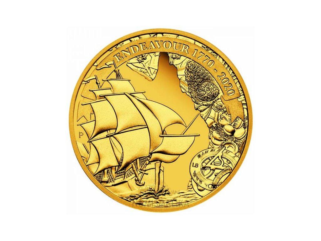 Zlatá moderní mince Voyage of Discovery: Endeavour 2020 proof