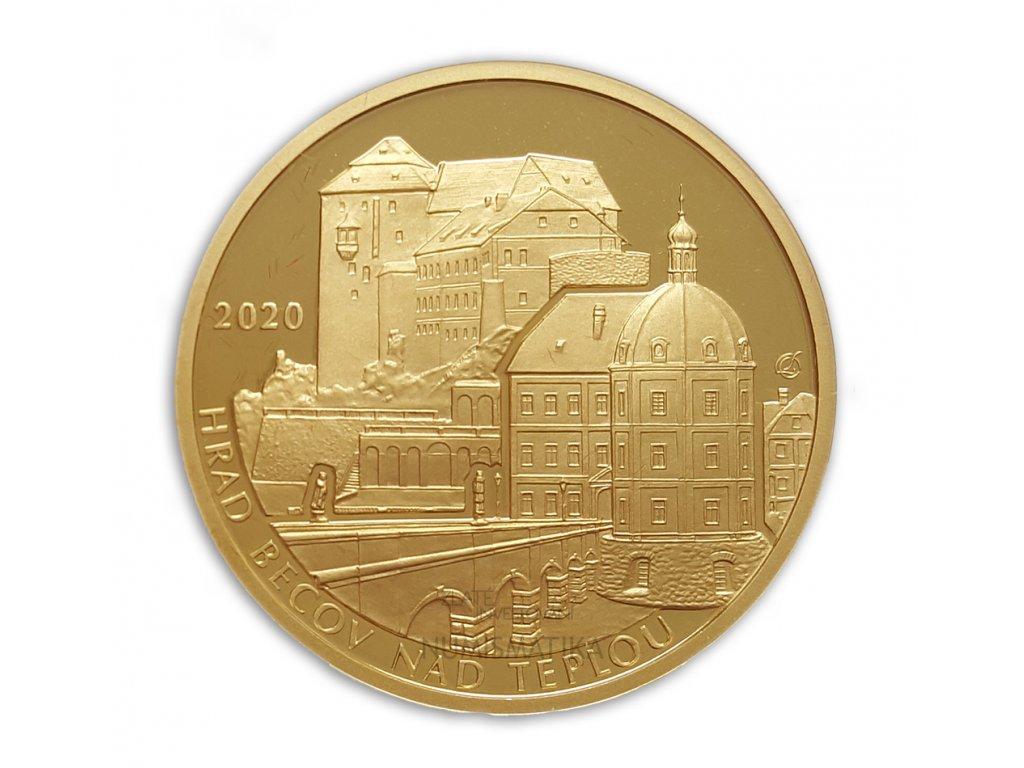 Zlatá mince hrad Bečov 2020-série hrady - proof 1/2 Oz-5000kč