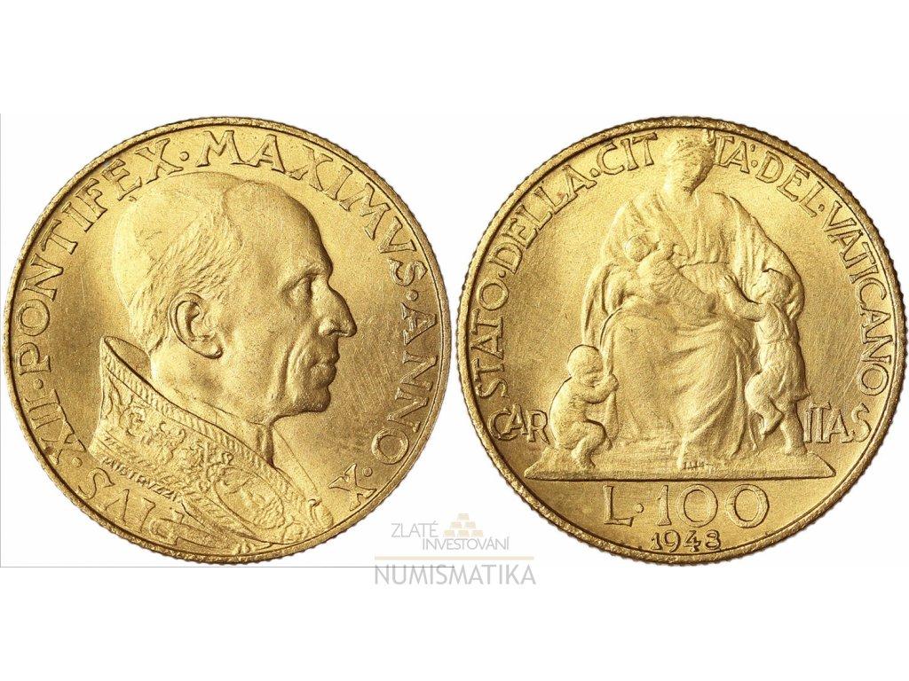 Zlatá 100 lira Pius XII.1948