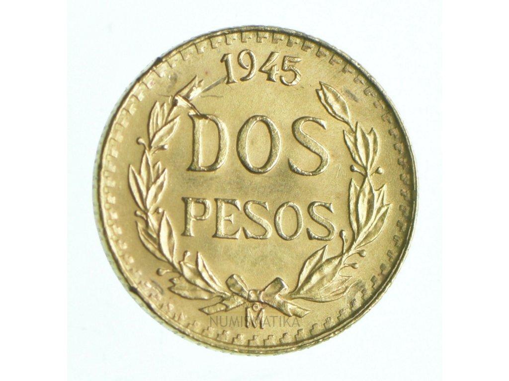 Zlatá mince dos pesos Mexiko