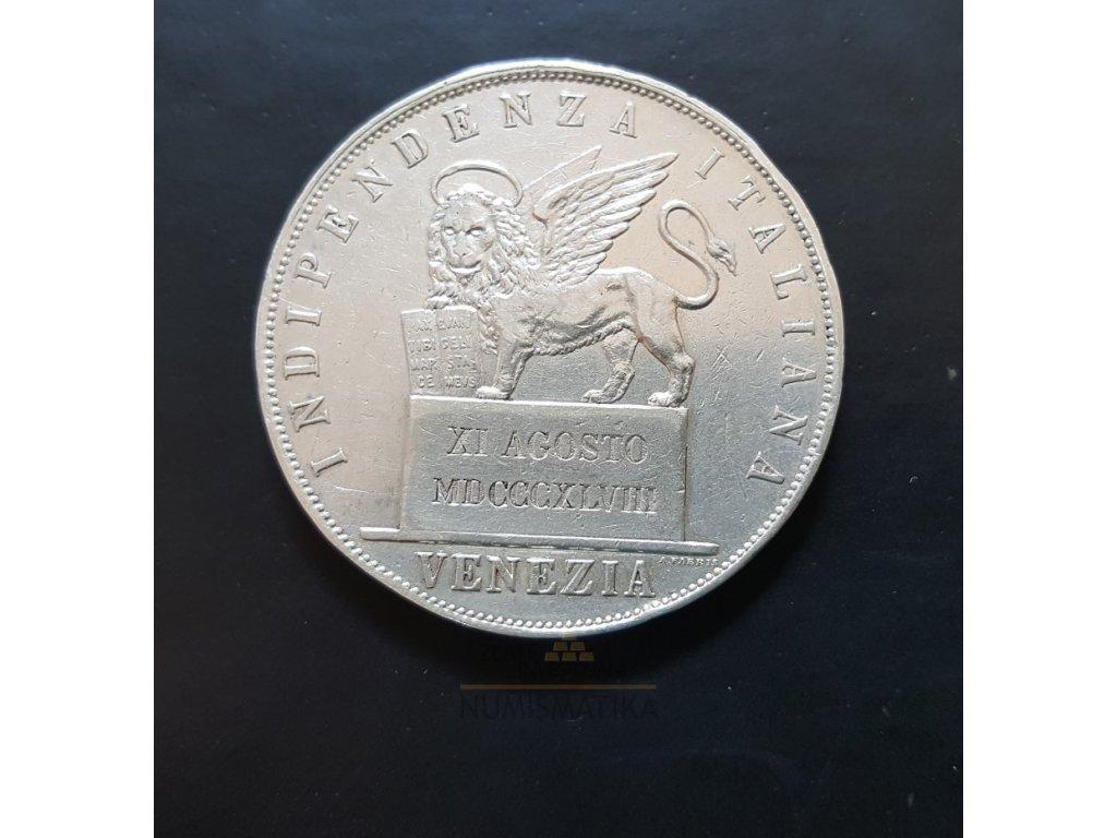 Stříbrná 5 lira 1848 V-Dio Premiera