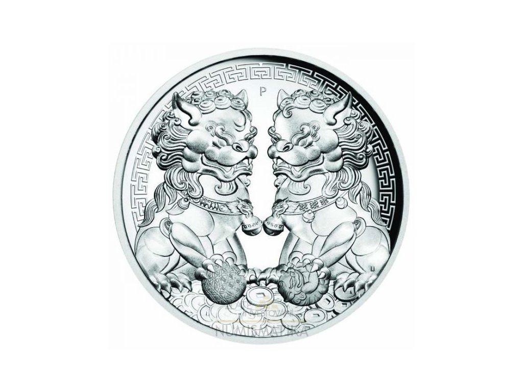 Stříbrná moderní mince Guardian Lion 2 Oz 2020 proof