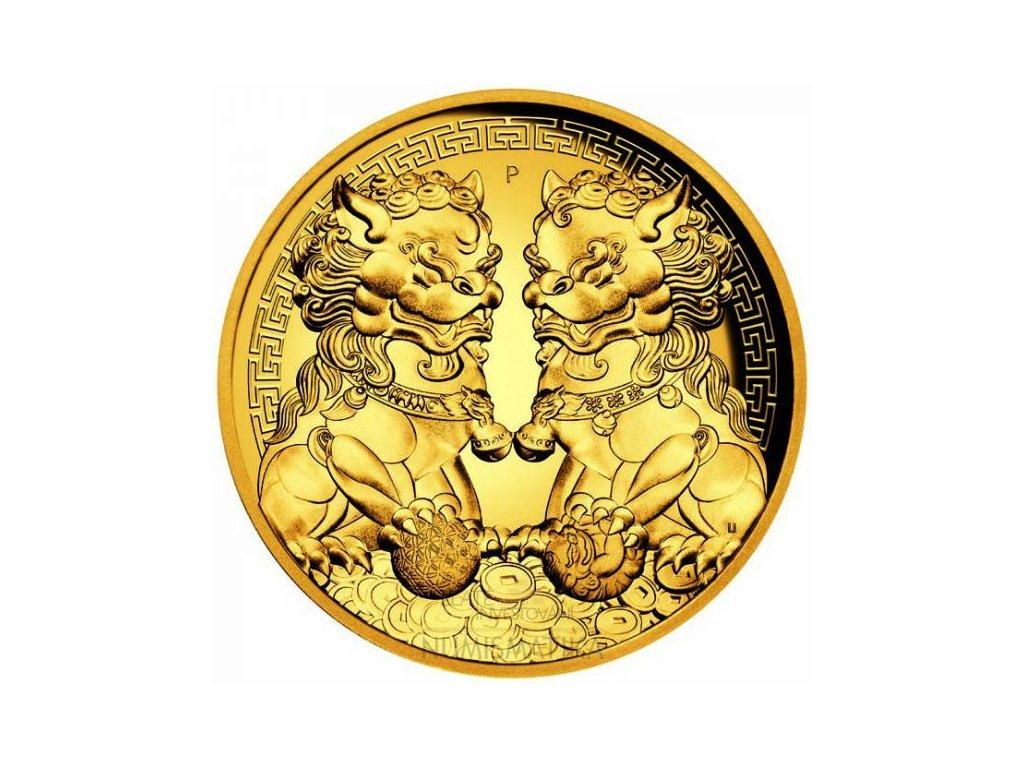 Zlatá moderní mince Guardian Lion 2 Oz 2020 proof