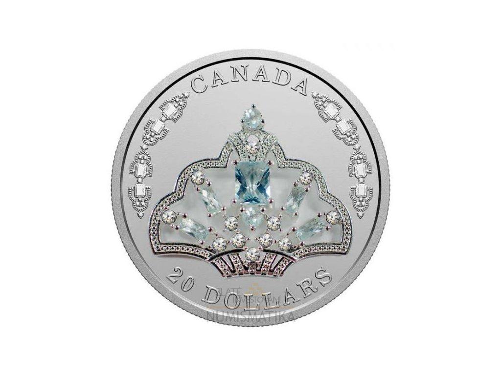 Stříbrná moderní mince Aquamarine Tiara 1 Oz 2020 proof