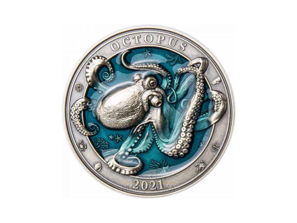 Stříbrná moderní mince Octopus 3 Oz 2021