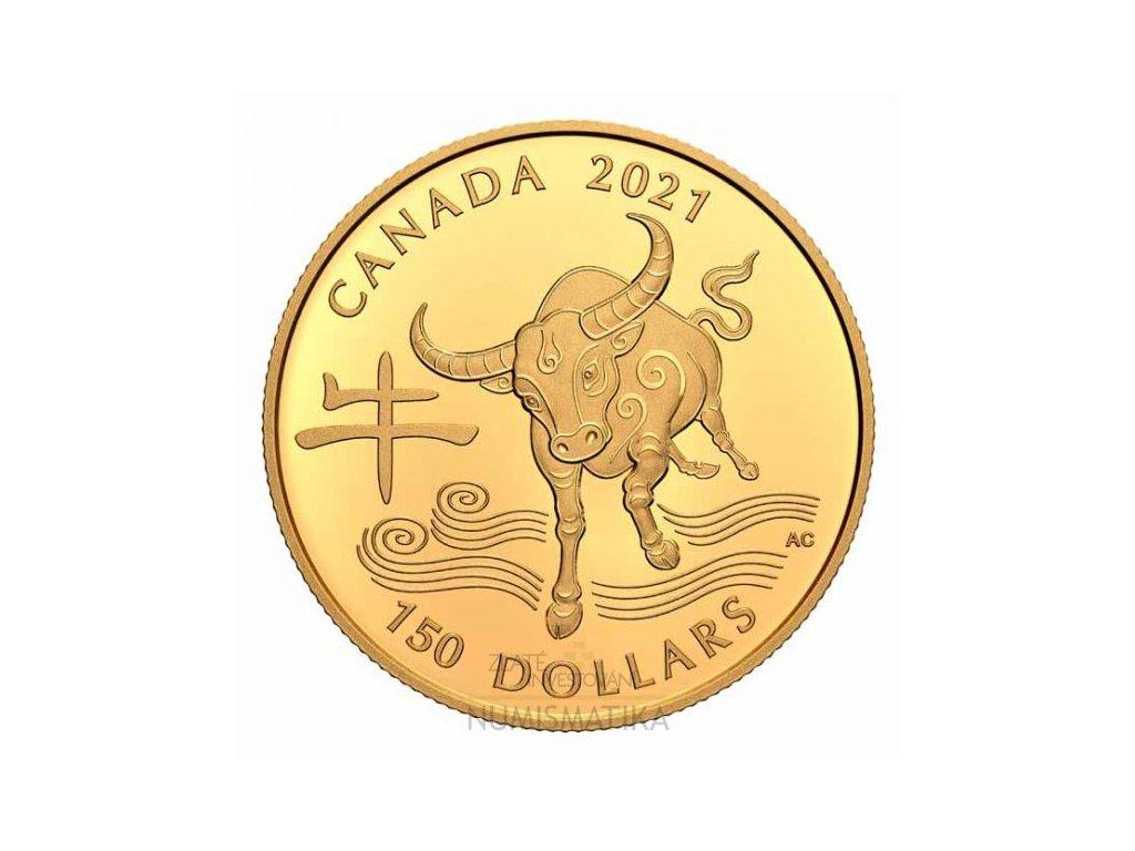 Zlatá moderní mince Rok Býka 11,84 g proof 2021