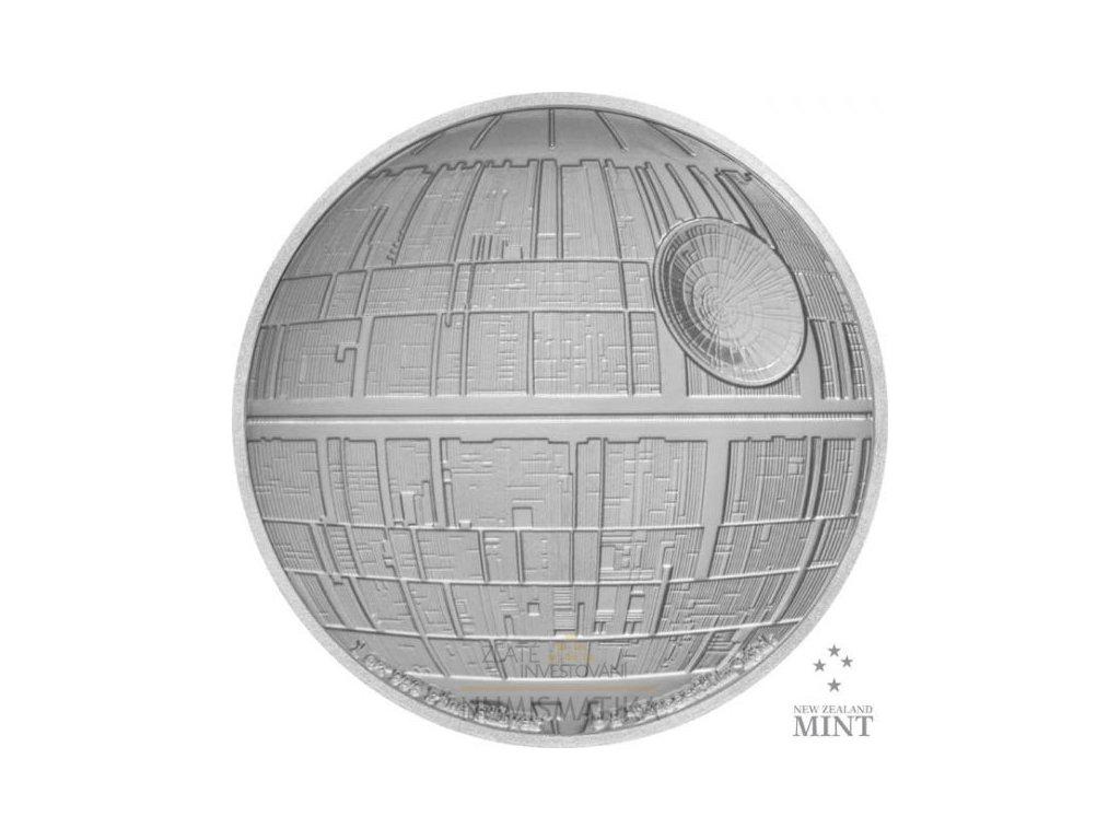Moderní stříbrná mince Death Star 1 Oz proof 2020