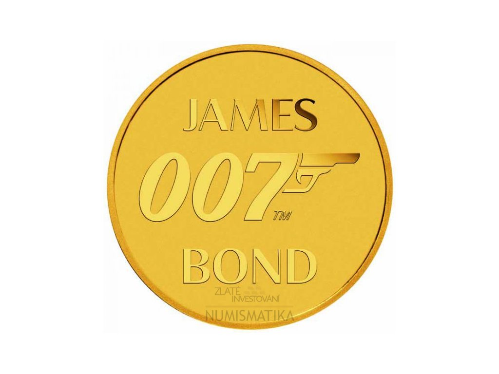 Zlatá moderní mince James Bond 0,5 g 2020 proof