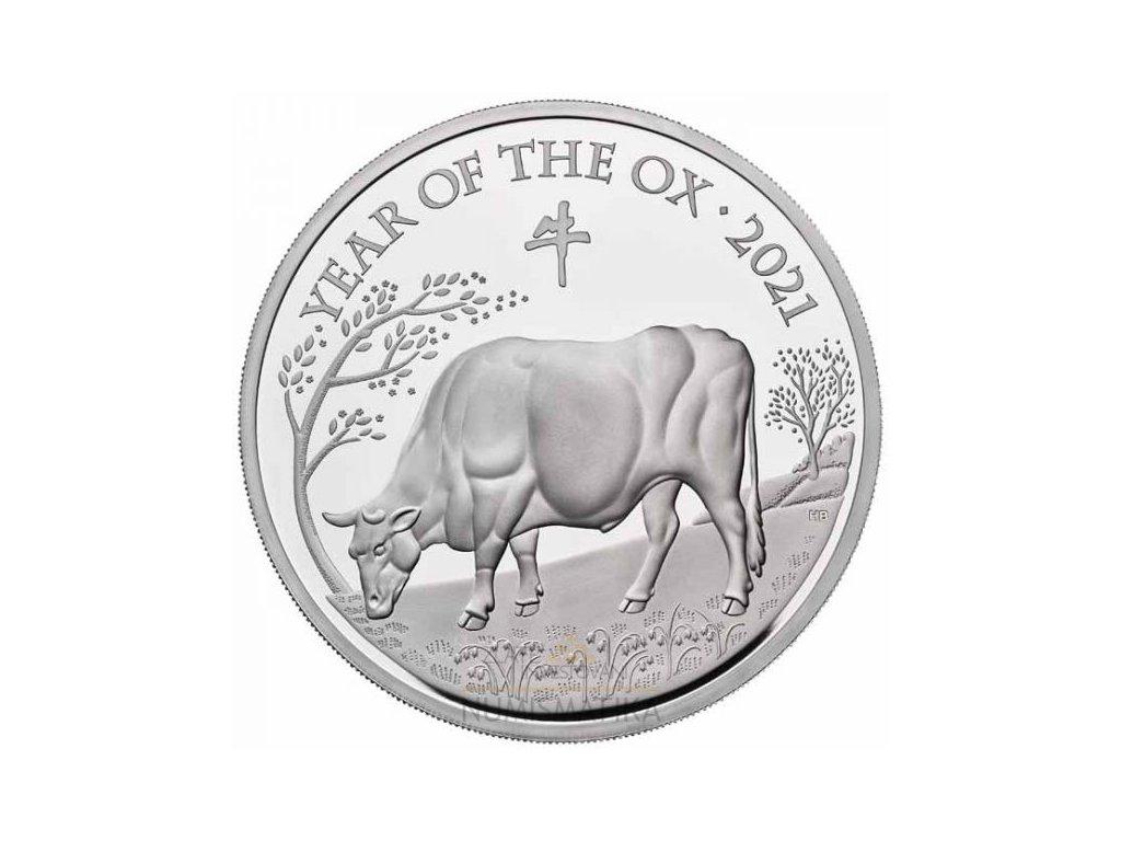 Stříbrná mince rok býka 1 Oz 2021-Velká Británie
