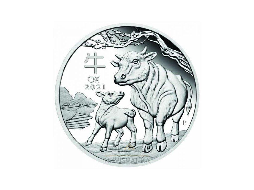Stříbrná mince rok býka 2021 1 Oz