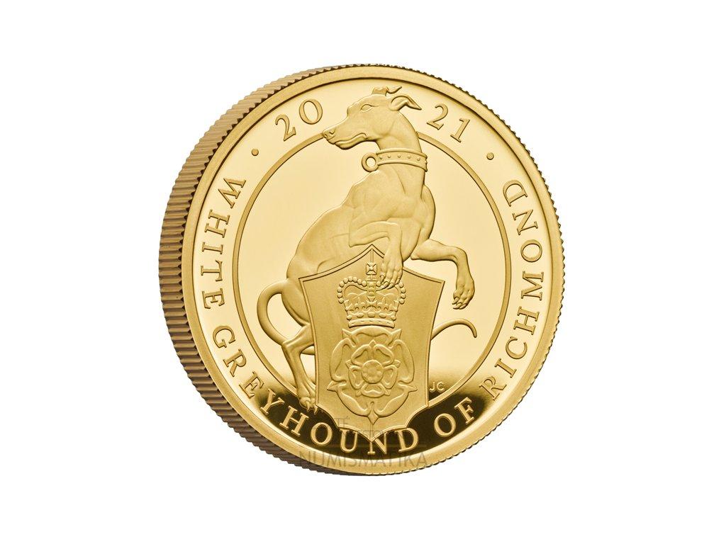 Zlatá mince white greyhound 2021 5 Oz-série Queens  beasts