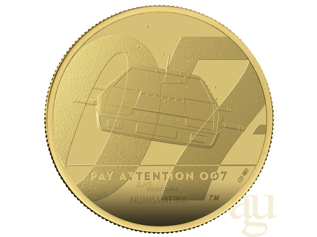 Zlatá moderní mince James Bond 007 Pay Attention 2020 1 Oz proof