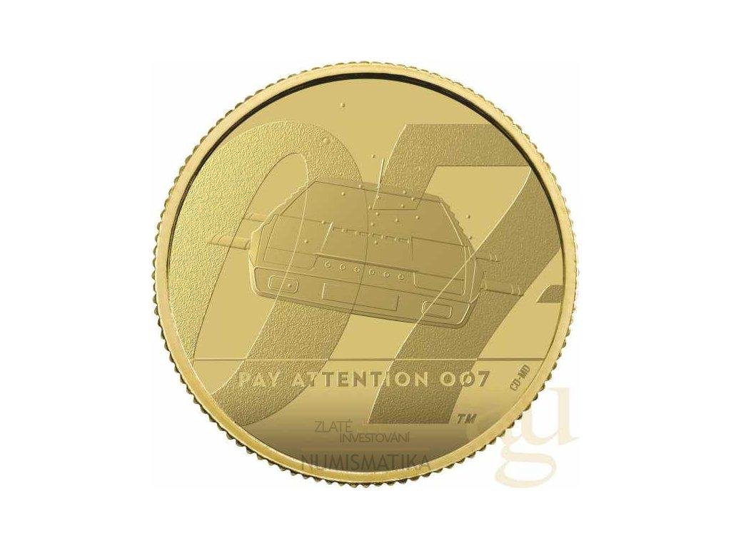 Zlatá moderní mince James Bond 007 Pay Attention 2020 1/4 Oz proof