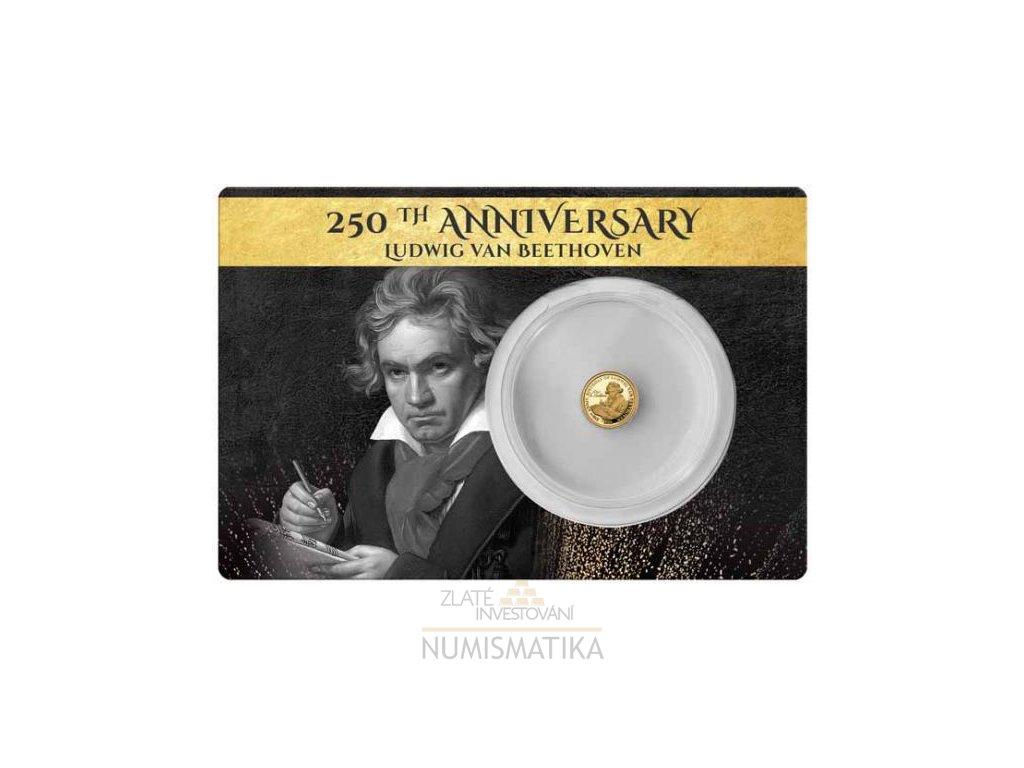 Zlatá moderní mince Ludwig van Beethoven 0.5g proof 2020