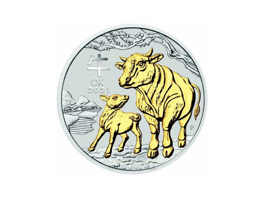 Stříbrná pozlacená mince Rok Býka 2021 1 Oz Lunární série III.