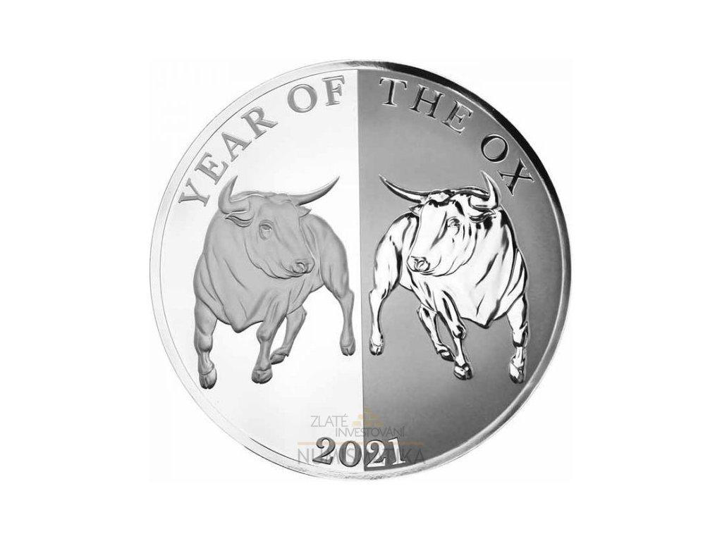 Stříbrná mince rok býka 2021 Lunární série III. Mirror ox 1 Oz proof