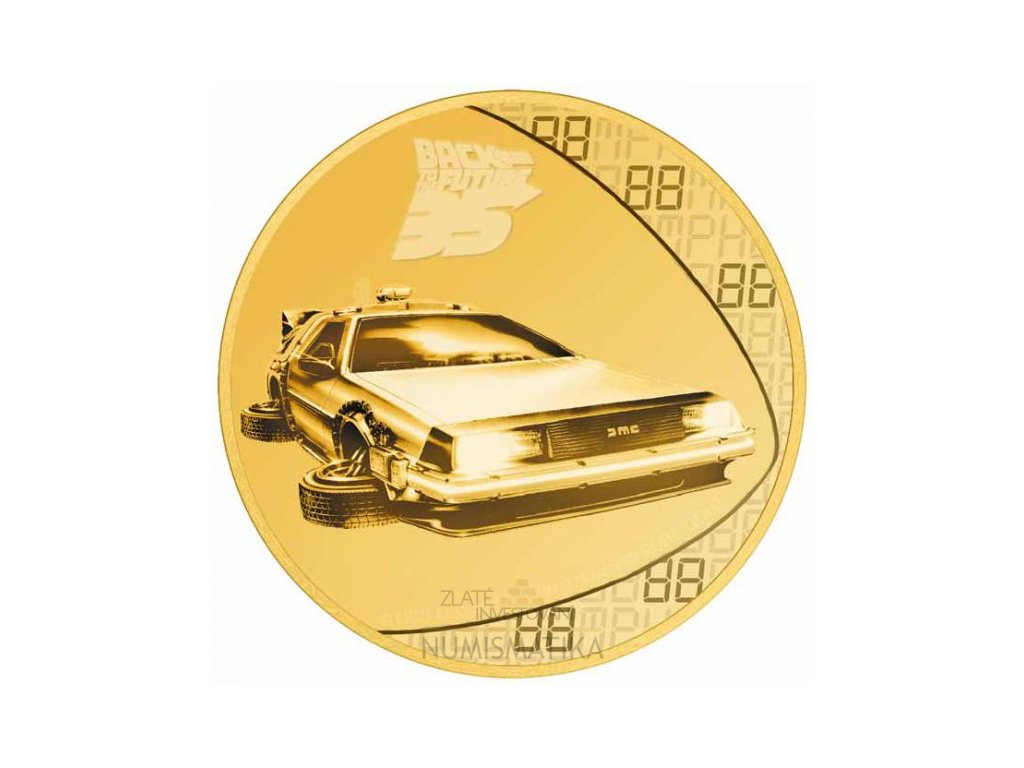 Zlatá moderní mince Back to the Future 1/4 Oz proof 2020
