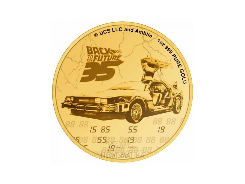 Zlatá moderní mince Back to the Future 1 Oz proof 2020