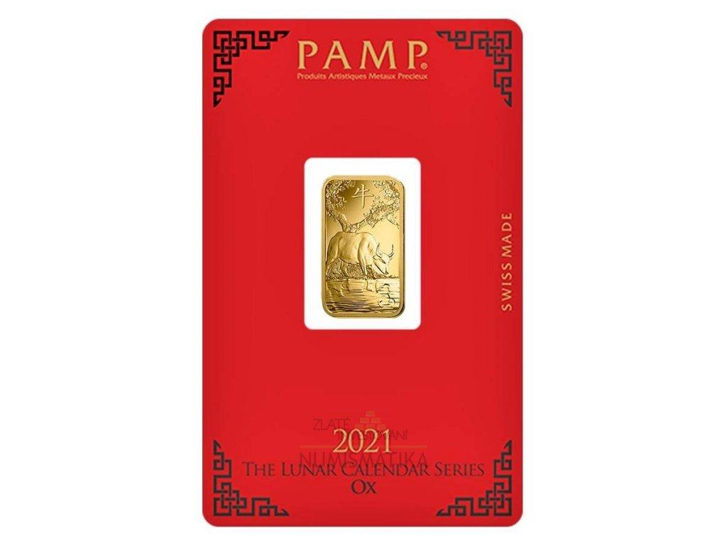 Zlatý investiční slitek 5g Rok býka 2021 PAMP