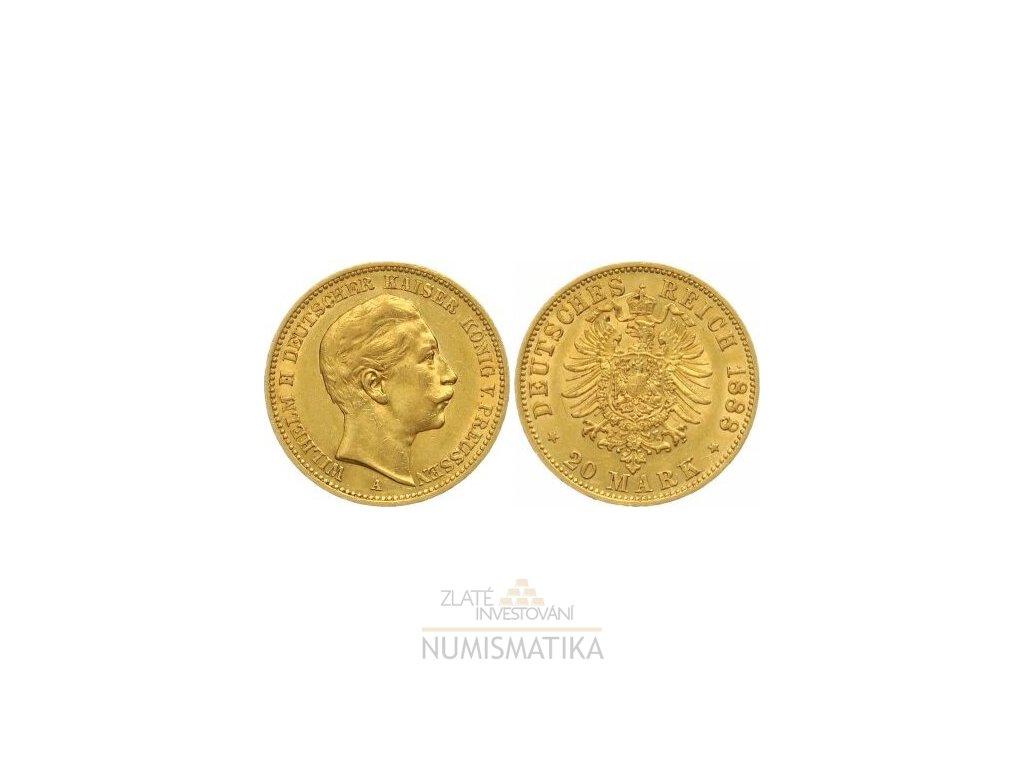 Zlatá 20 marka Wilhelm II. 1888