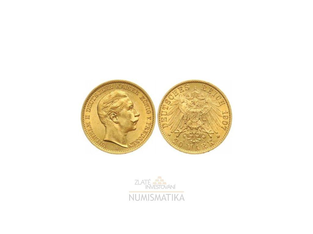 Zlatá 20 marka Vilém II. 1907