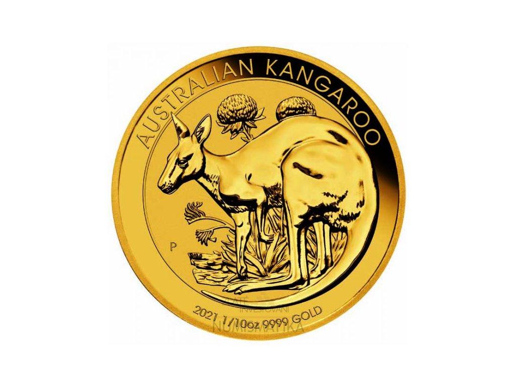 Investiční zlatá mince Australian Kangaroo 2021 1/10 Oz