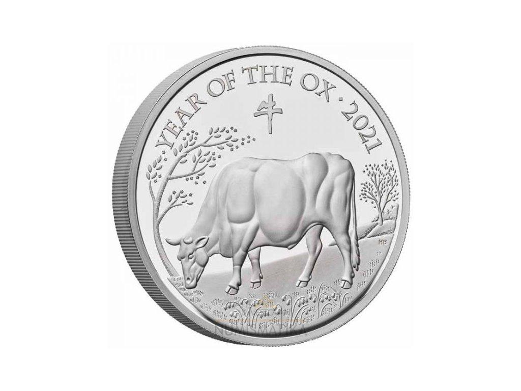 Stříbrná moderní mince Rok Býka 2021 1 Oz proof