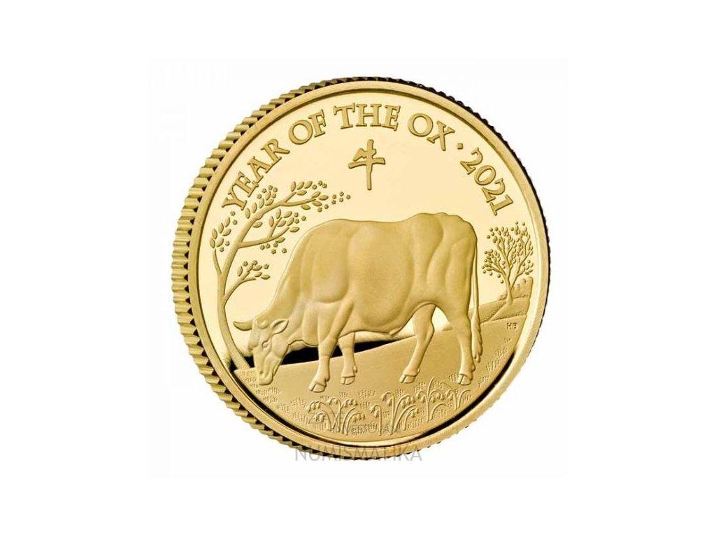 Zlatá moderní mince Rok Býka 2021 1/4 Oz proof