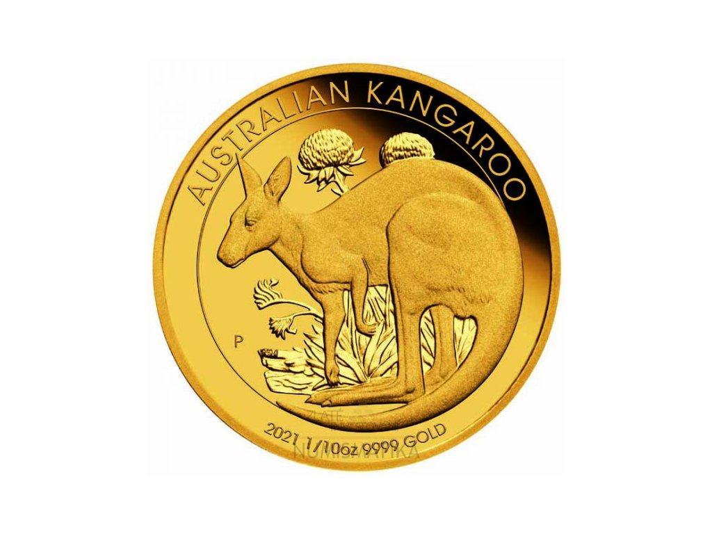 Zlatá moderní mince Klokan 2021 proof 1/10 Oz
