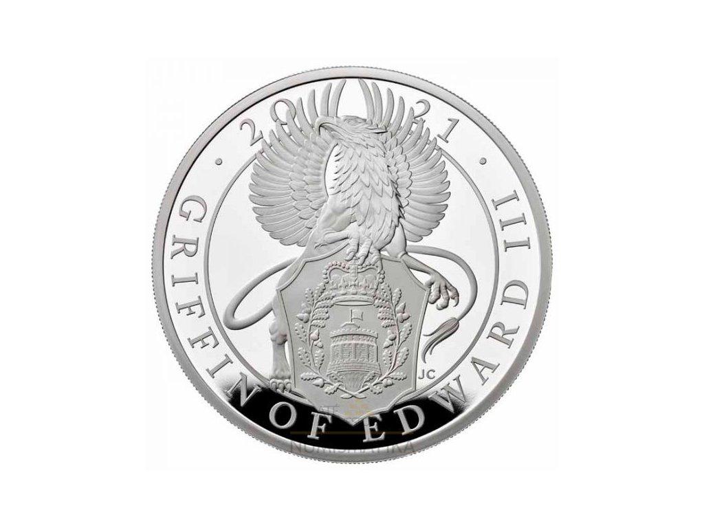 Moderní stříbrná mince Griffin of Edward III 1 Kg proof 2021