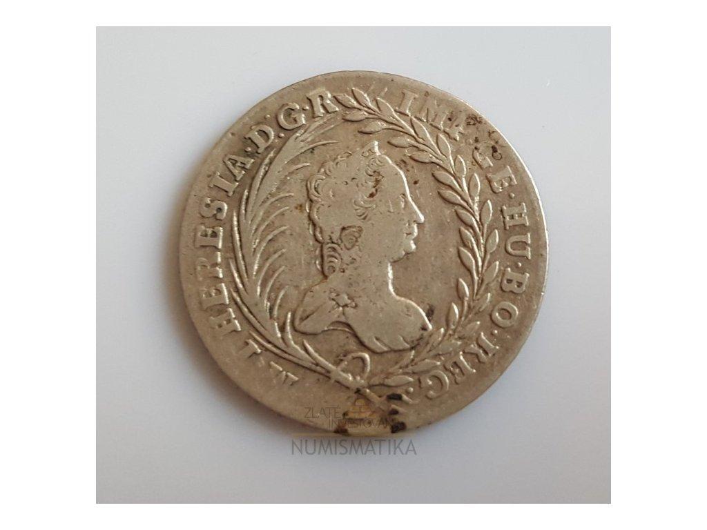 Stříbrný 20 krejcar Marie Terezie 1761