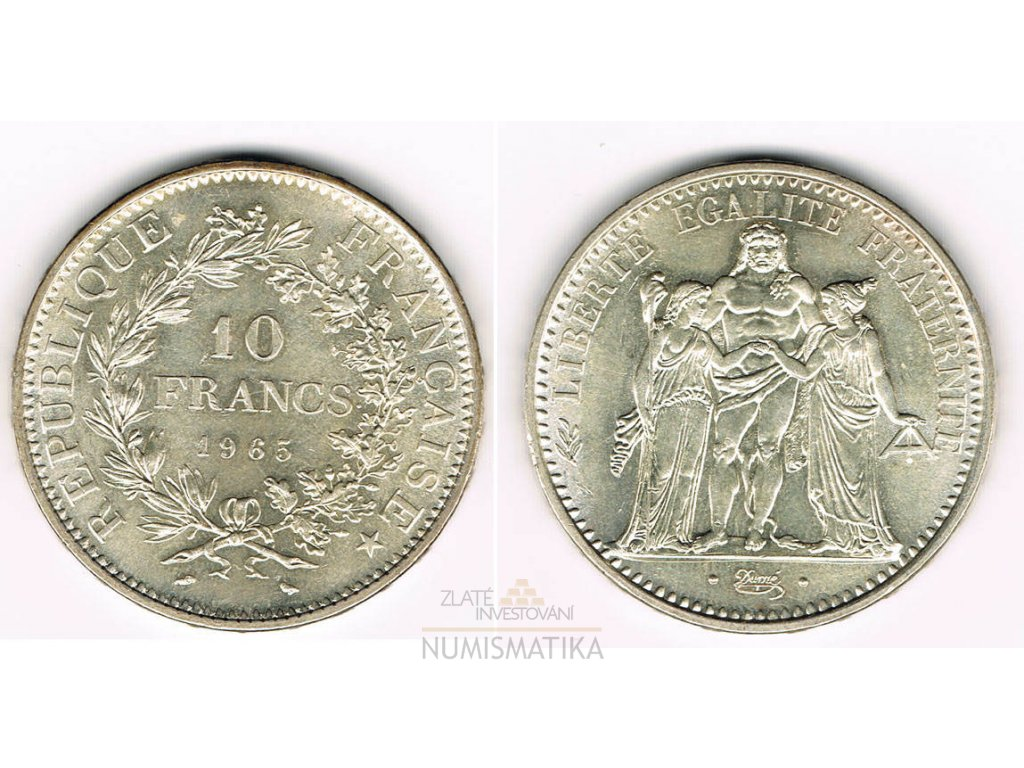 Stříbrná mince 10 frank-Herkules 1965