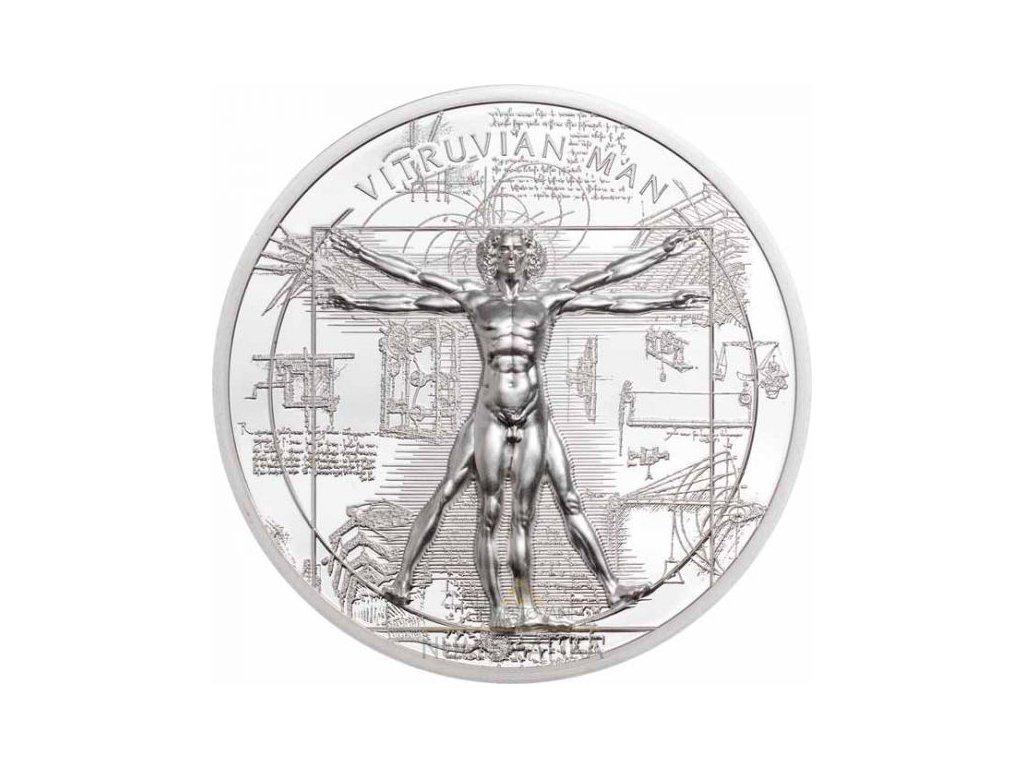 Stříbrná moderní mince Vitruviánský muž 1 Oz proof 2021