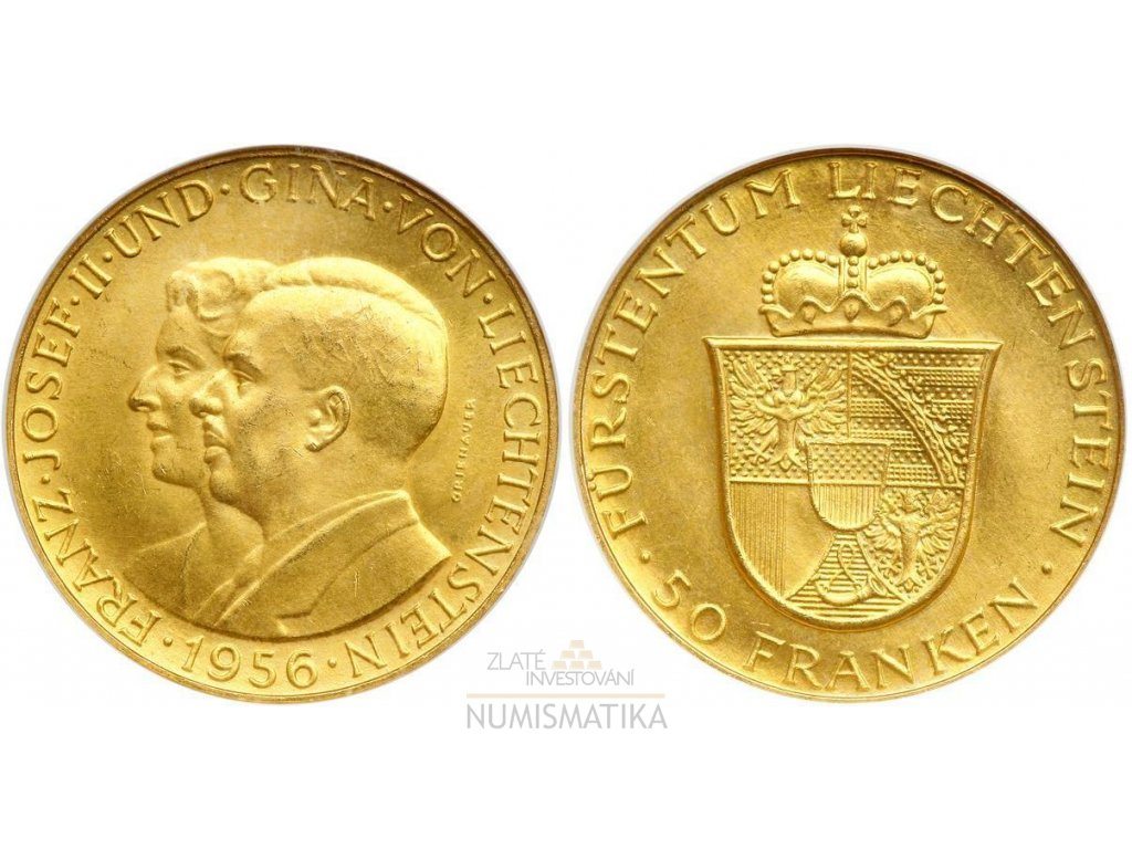 Zlatý 50 frank Franz Josef II. a princezna Gina 1956-Lichnštejnsko